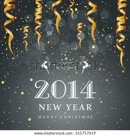 Happy New Year 2014 celebration flyer, poster, banner or invitation with stylish text on shiny grey background with hanging golden decorative.  - stock vector