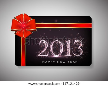 Happy New Year celebration gift card with red ribbon. EPS 10. - stock vector