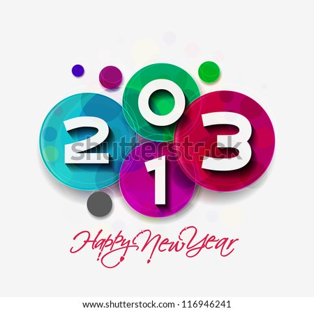 Happy new year celebration greeting card  design. - stock vector