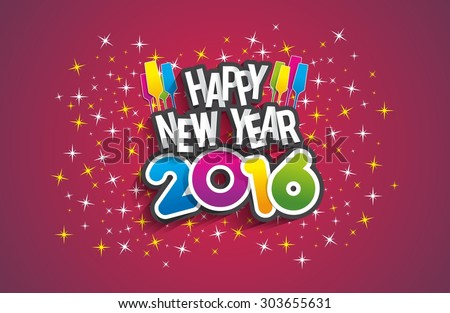 Happy new year 2016 celebration greeting card design