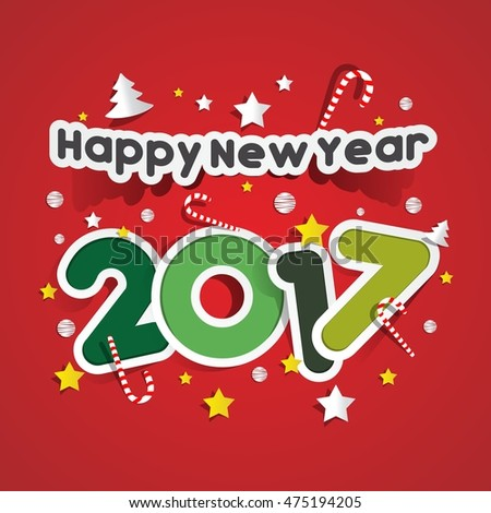 Happy new year 2017 celebration greeting card design