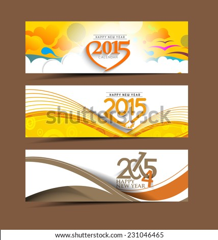 Happy new year 2015 celebration header design. - stock vector