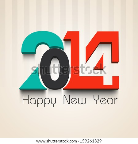 Happy New Year 2014 celebration party, poster or banner with stylish colorful text on vintage background.  - stock vector