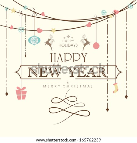 Happy New Year  2014 celebration poster, banner, flyer or invitation with stylish text on decorative hanging decorations.  - stock vector