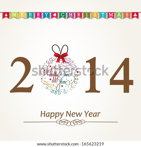 Happy New Year 2014 celebration poster, banner or flyer with stylish text colorful Xmas ball on abstract  background.