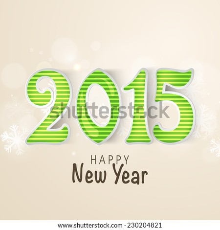 Happy New Year celebration with glossy text 2015 on snowflakes decorated background.