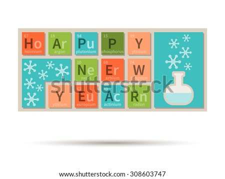 happy new year chemistry theme banner with periodic table elements - Periodic Table Of Elements Years