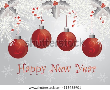 Happy New Year Christmas Garland with 2013 Ornaments Holly Berries Leaves and Candy Cane Illustration