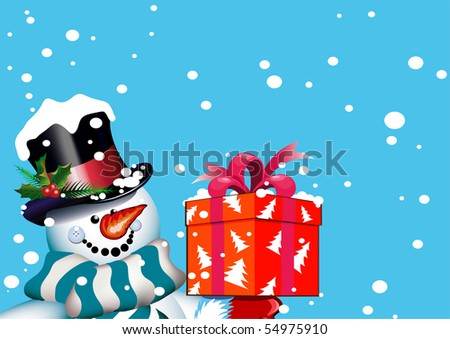 Happy new year. Christmas. Snowman with a gift. Vector drawing - stock vector