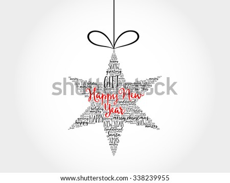 Happy new year. Christmas star word cloud, holidays lettering collage - stock vector
