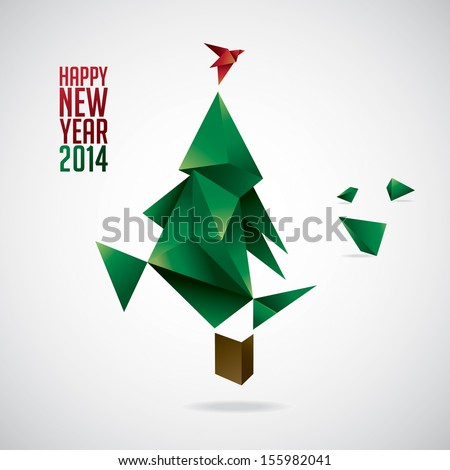 Happy New Year, Christmas tree - stock vector