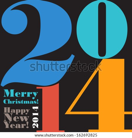 Happy New Year 2014 colorful background.  - stock vector