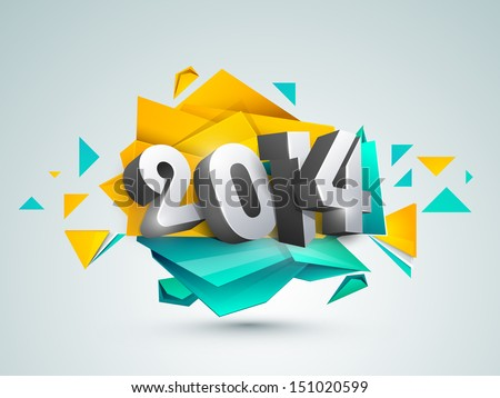 Happy New Year 2014 colorful celebration background.  - stock vector