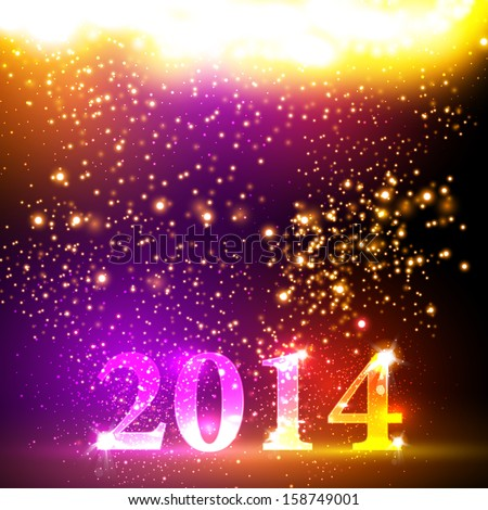 Happy new year 2014 colorful celebration vector design, easy editable - stock vector