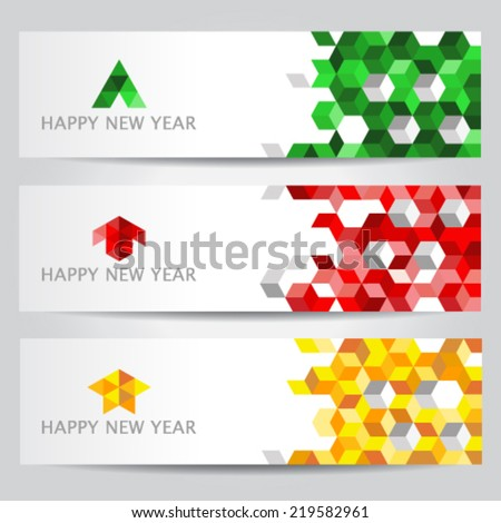 Happy New Year colorful cube web banners - stock vector
