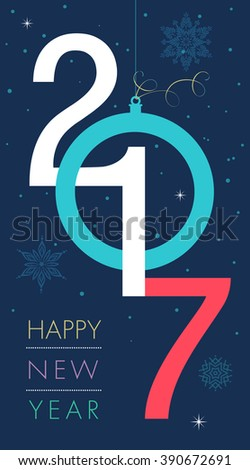 Happy new 2017 year. Colorful design on blue background. Vector illustration and photo image available.
