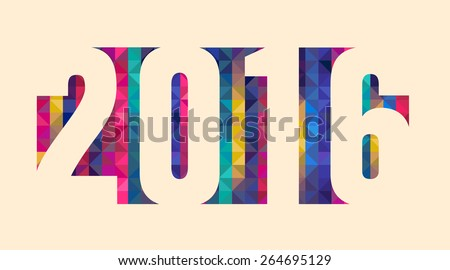 Happy new 2016 year. Colorful design. Vector illustration and photo image available.  - stock vector