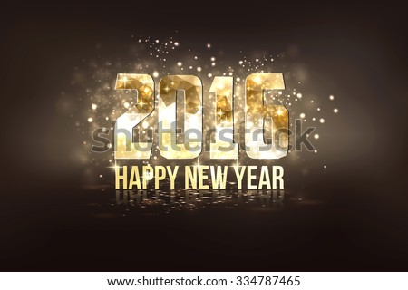Happy New Year 2016 colorful greeting card made in polygonal origami style. Party poster, banner or invitation. Number formed by triangles. Vector - stock vector