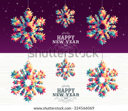 Happy new year 2016 colorful hipster triangle snowflake holiday ornaments banner set with night sky and wood background. EPS10 vector. - stock vector