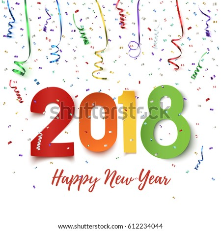 Happy new year 2018 colorful paper stock vector hd royalty free happy new year 2018 colorful paper stock vector hd royalty free 612234044 shutterstock voltagebd Gallery