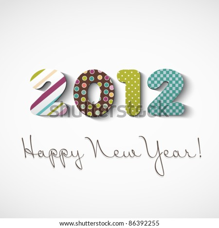 Happy new year 2012, colorful stickers - stock vector
