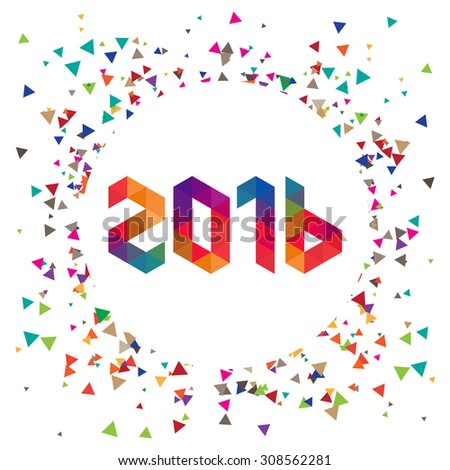 Happy new year 2016 Colorful triangular text Design