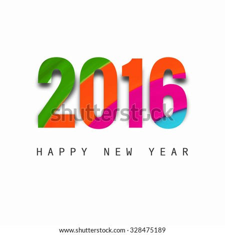 Happy New Year 2016 colorful vector background - stock vector