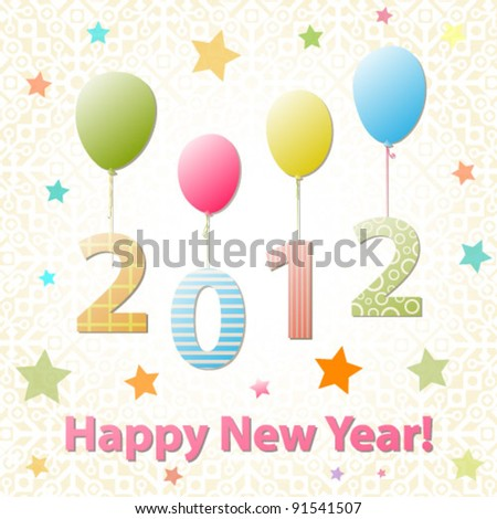 Happy New Year 2012 colorful vector greeting card - stock vector