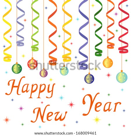 Happy New Year composition with serpentine and New Year decorations, hand drawing vector illustration - stock vector