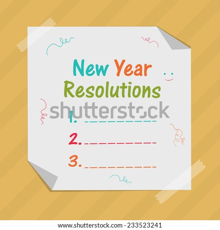Happy New Year concept with blank list of resolution on ribbon decorated white sheet pasted on stylish background. - stock vector