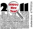 Happy new year 2011 concept with word collage and magnifier - stock photo
