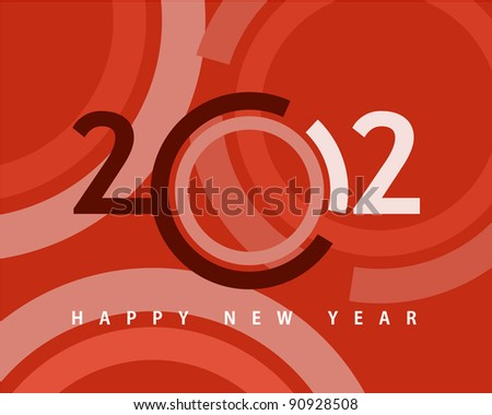 Happy new year 2012, conceptual 2012 year created from circles with colored background. - stock vector