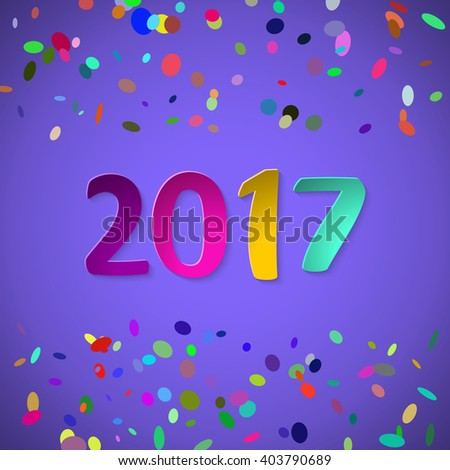 Happy New 2017 Year. Creative design background with colorful confetti. Greeting card. Vector template. 