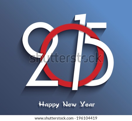 Happy new year 2015 creative greeting card design - stock vector