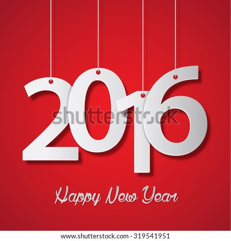 Happy new year 2016 creative greeting card design - stock vector