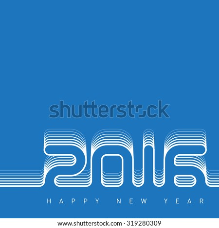 Happy new year 2016. Creative greeting card design template. Universal Vector background. - stock vector