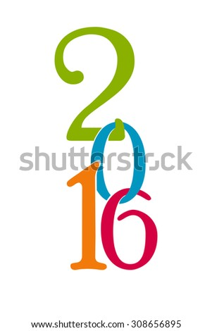Happy new year 2016 creative greeting card design. Vector