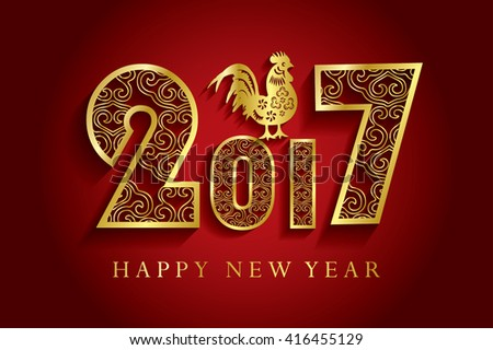 Happy new year 2017 creative greeting card design / Year 2017 vector design element / Happy New Year 2017 colorful greeting card made in style.