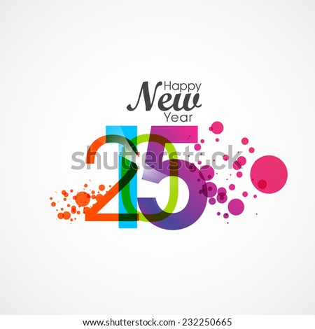 Happy new year 2015 creative text design. greeting card