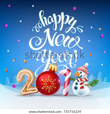 Happy New Year 2018 Decoration Poster Stock Vector 735716224 ...