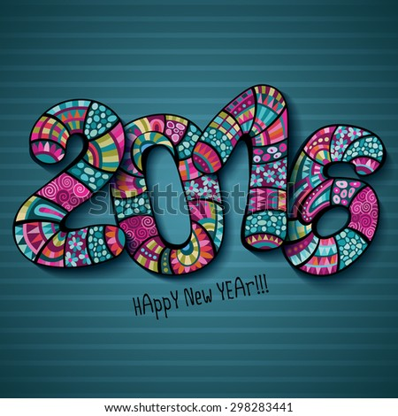 Happy New Year 2016. Decorative vintage ornamental hand drawn inscription - stock vector