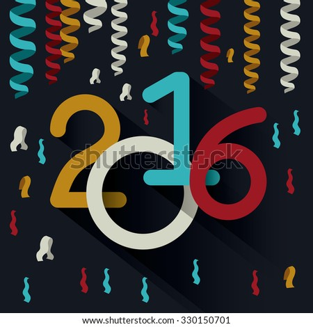 happy new year 2016 design, vector illustration eps10 graphic