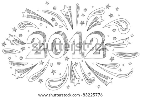 Happy New Year 2012 doodle in black and white