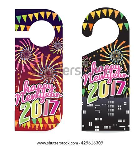 Happy New Year 2017 Door Hanger Vector Illustration