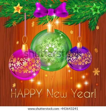 Happy new year. Elegant toys Christmas balls on wooden background.Template cards, greetings, invitations, and advertising appeal.