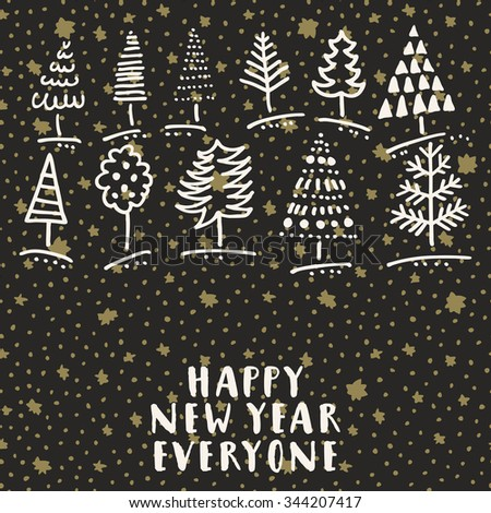 Happy new year everyone trendy doodle stock vector 2018 344207417 happy new year everyone trendy doodle hand drawn greeting card with christmas trees in vector m4hsunfo
