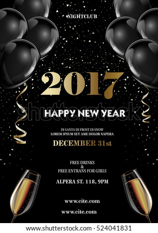 Happy new year 2017 fancy gold champagne and black hot air ballons. Ideal for greeting card or elegant holiday party invitation.
