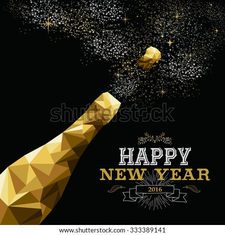 Happy new year 2016 fancy gold champagne bottle in hipster triangle low poly style. Ideal for greeting card or elegant holiday party invitation. EPS10 vector. - stock vector