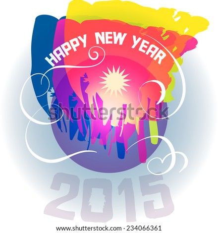 Happy New Year.2015. Festive poster abstract composition on New Year's theme. Multicolor, with the text. - stock vector