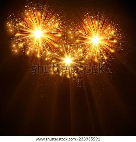 Happy New Year 2014 fireworks celebration background, easy all editable - stock vector